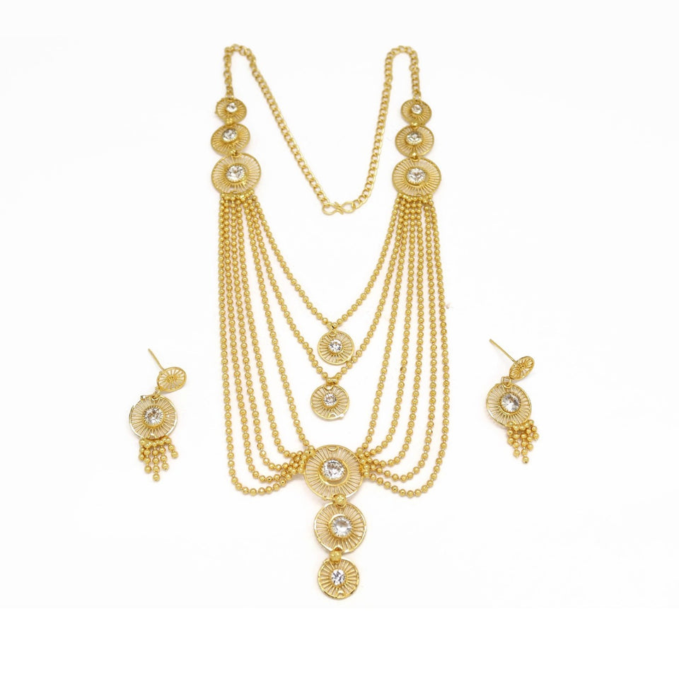 Drop Circle Three Layer Necklace & Earring Set, White, Gold Plating
