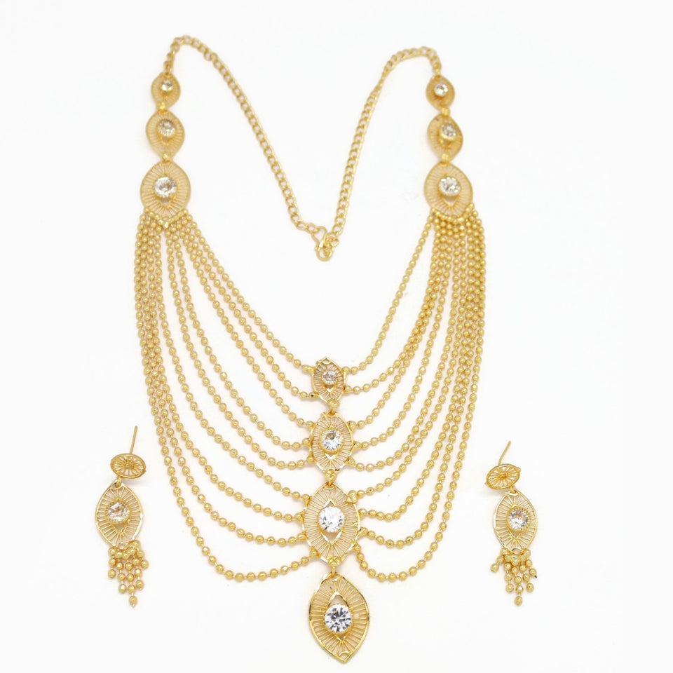 Evil-Eye Protection Multi-Layer Necklace and Earring Set, White, Gold Plating