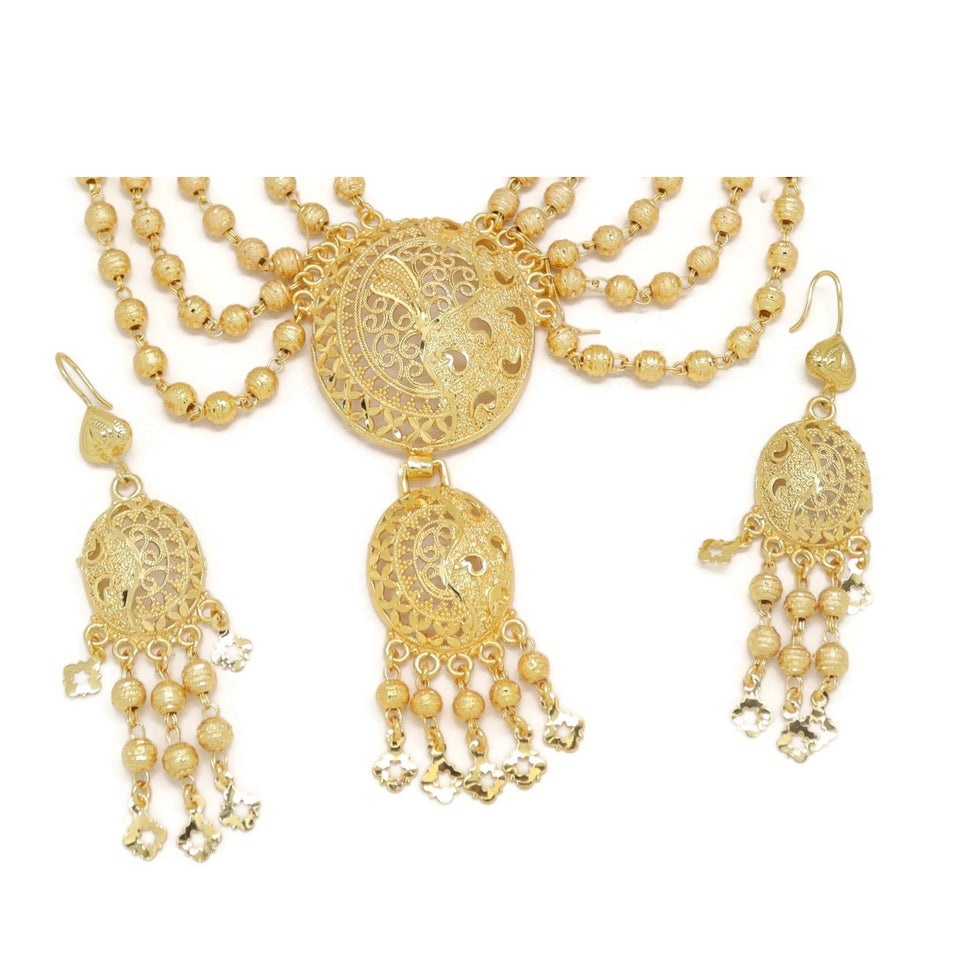 Waving Star Jadtar Long Necklace and Earring Set, Yellow, Gold Plating