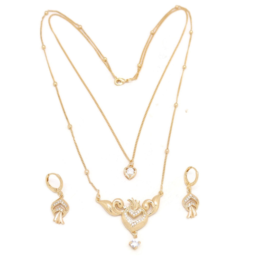 Heart on Fire Double Chain Necklace and Earring Set, White, Gold Plating