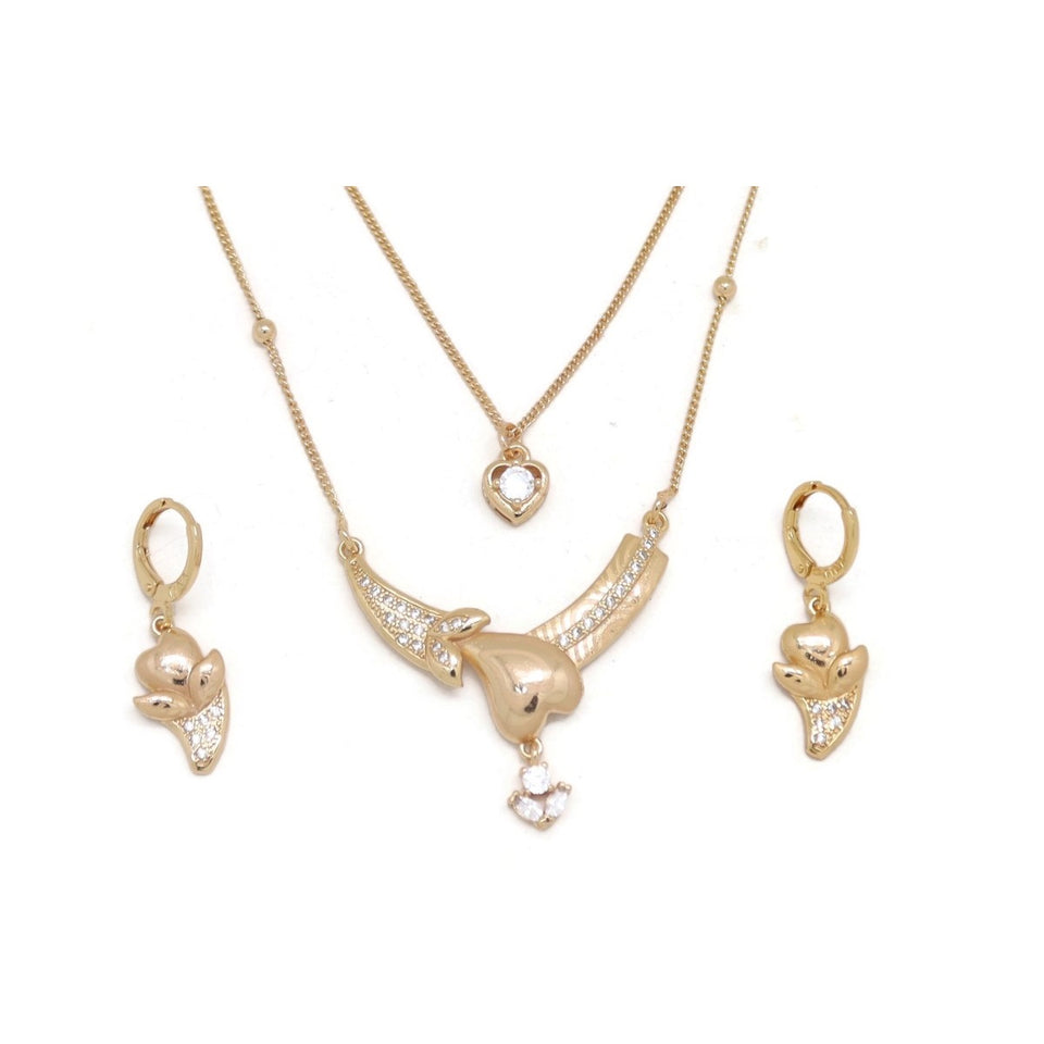 Heart Vase Double Chain Necklace and Earring Set, White, Gold Plating