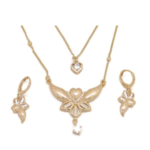 Loving Flower Double Chain Necklace and Earring Set, White, Gold Plating