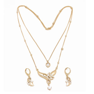 Peacock Love Double Chain Necklace and Earring Set, White, Gold Plating