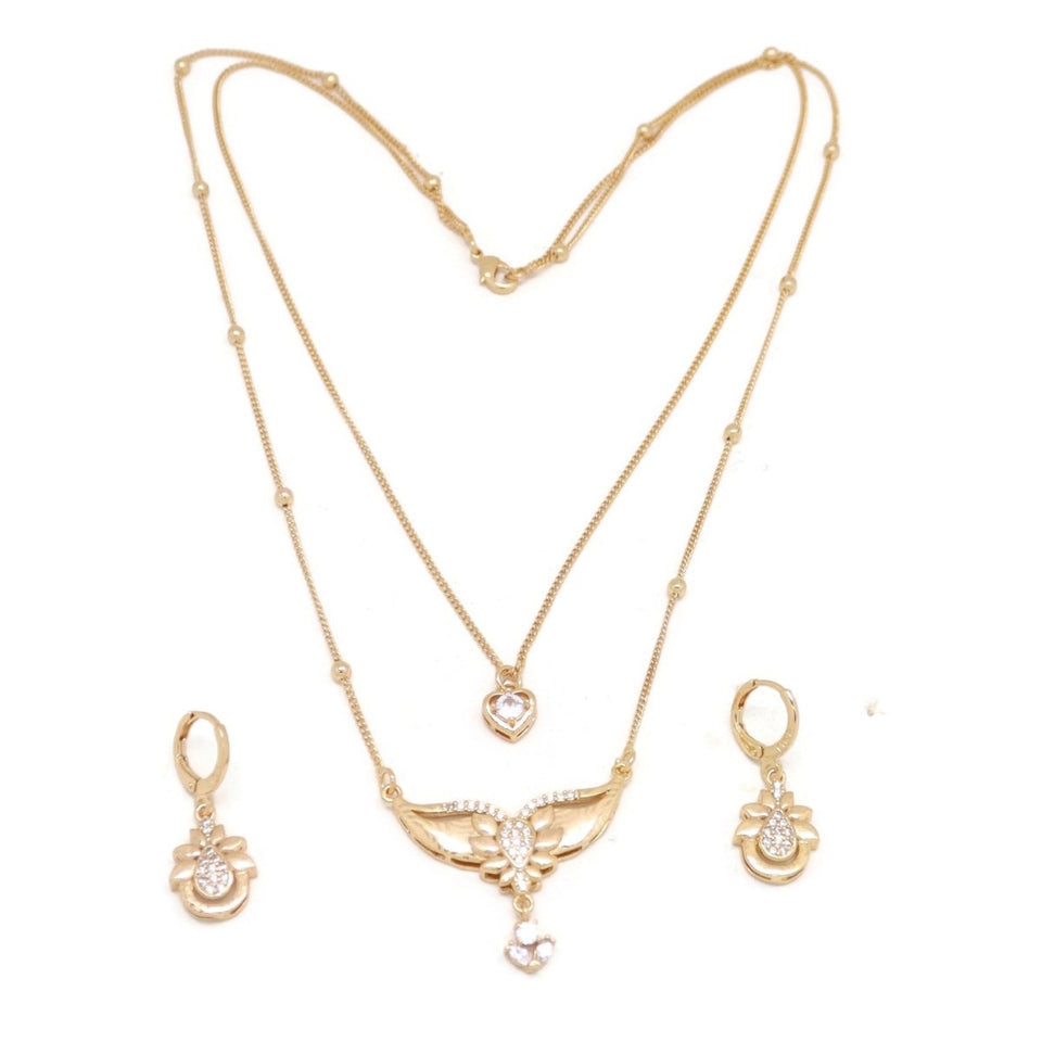 Shining Love Teardrop Double Chain Necklace and Earring Set, White, Gold Plating