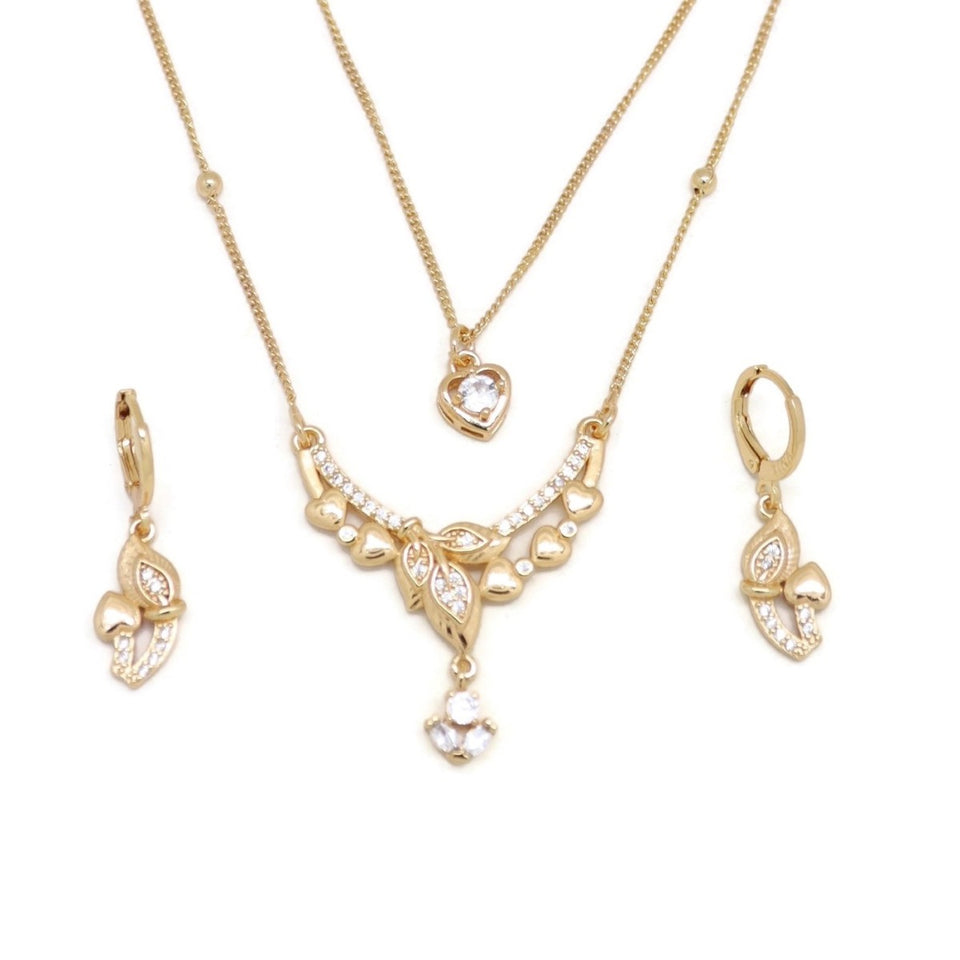 Branching love Double Chain Necklace and Earring Set, White, Gold Plating