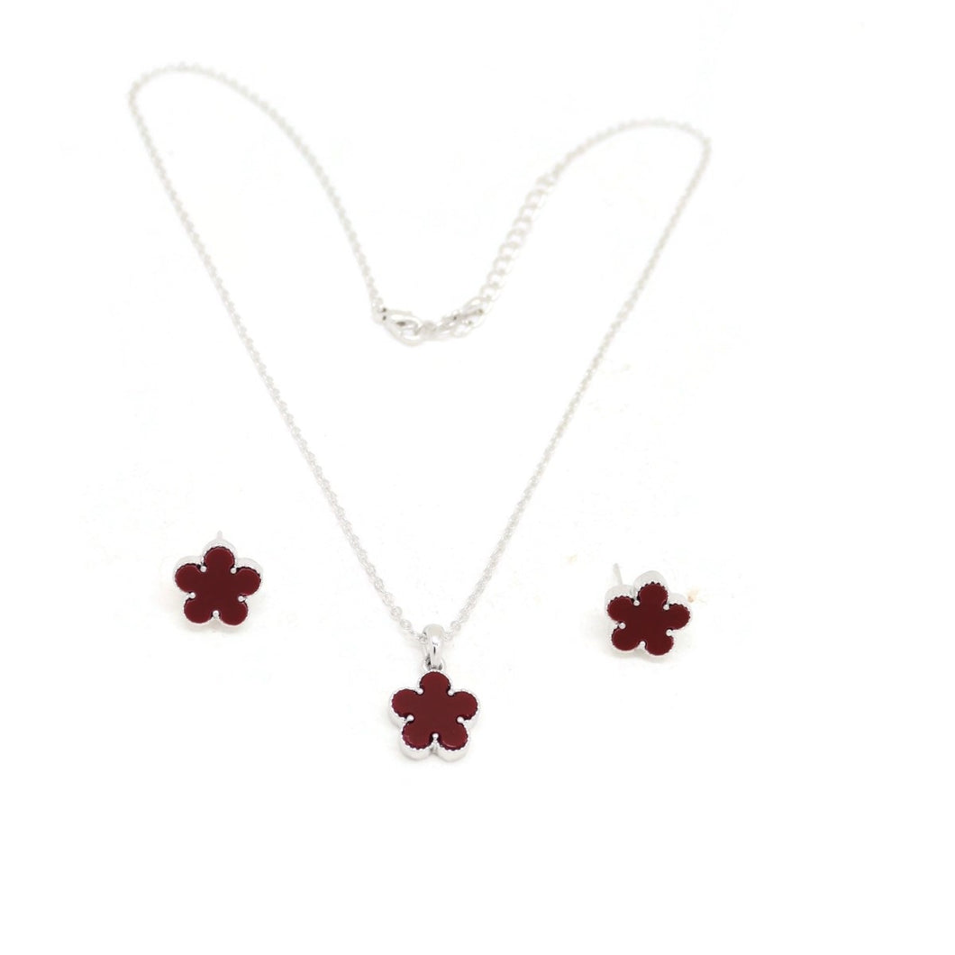 Daisy Flower Necklace & Earring Set, Spanish-Purple, Silver Plating