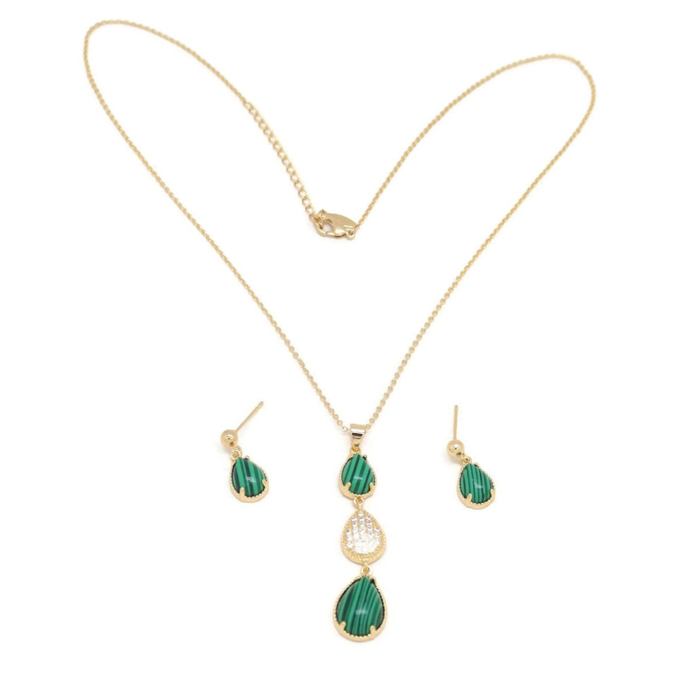 Emerald Trio Teardrop Necklace & Earring Set, Green, Gold Plating