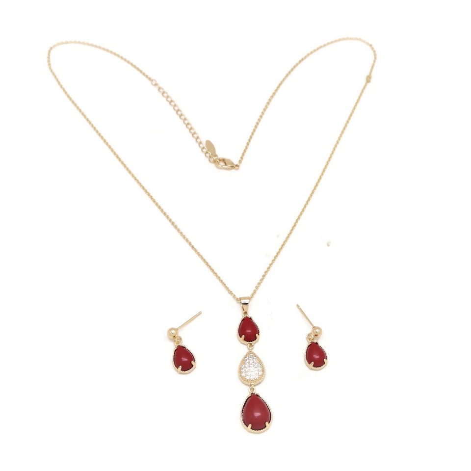 Ruby Trio Teardrop Necklace & Earring Set, Red, Gold Plating