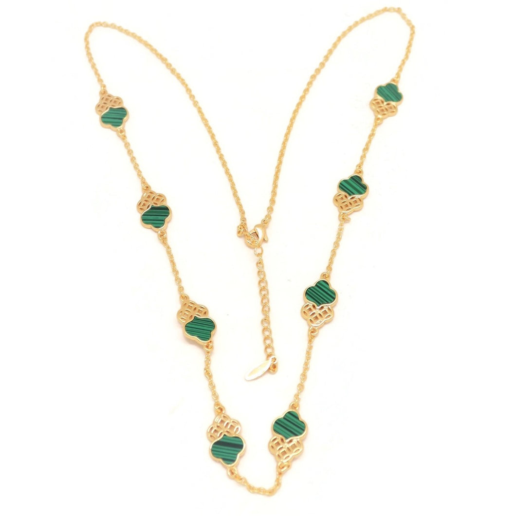 Emerald Twin Trefoil Necklace, Green, Gold Plating