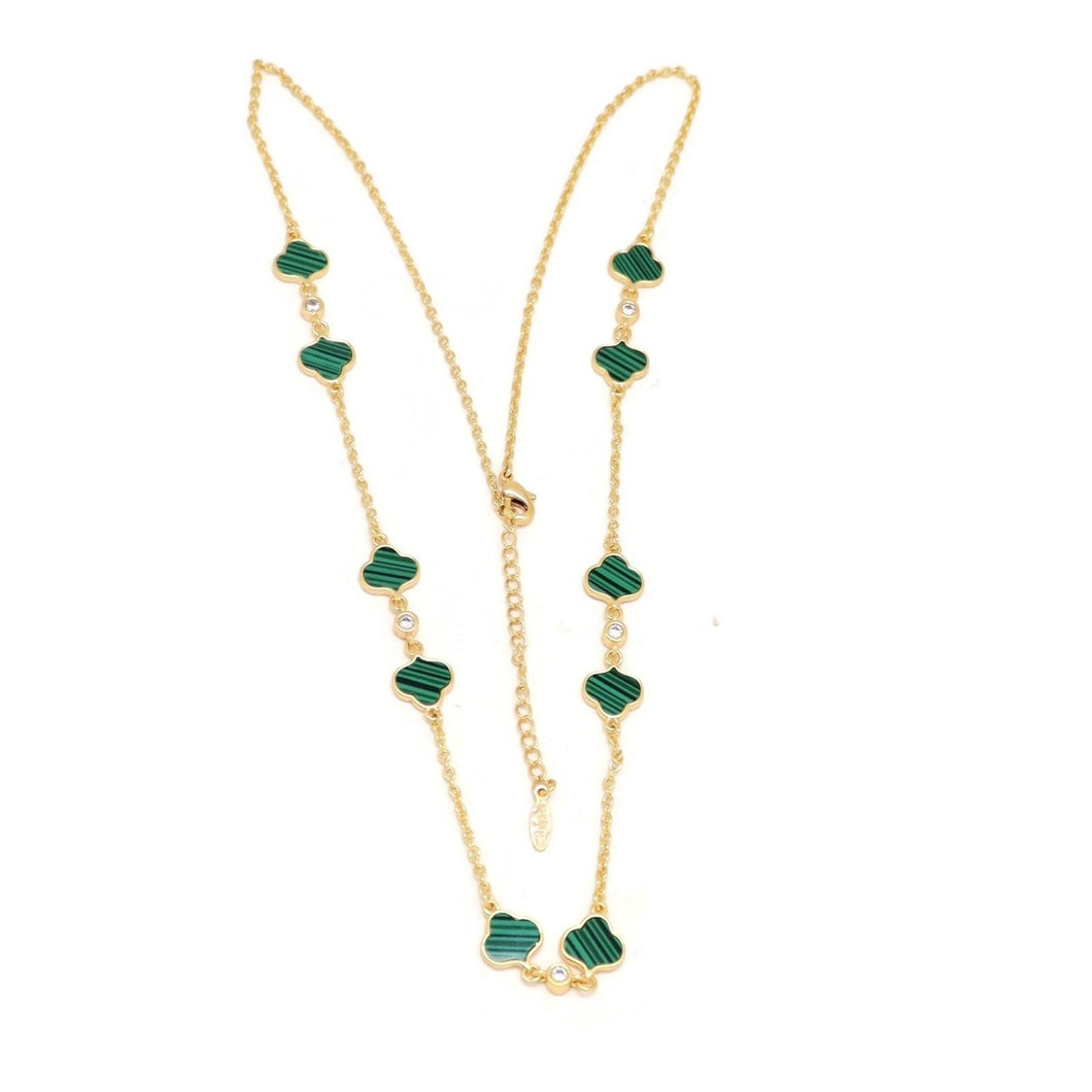 Emerald Series Trefoil Necklace, Green, Gold Plating