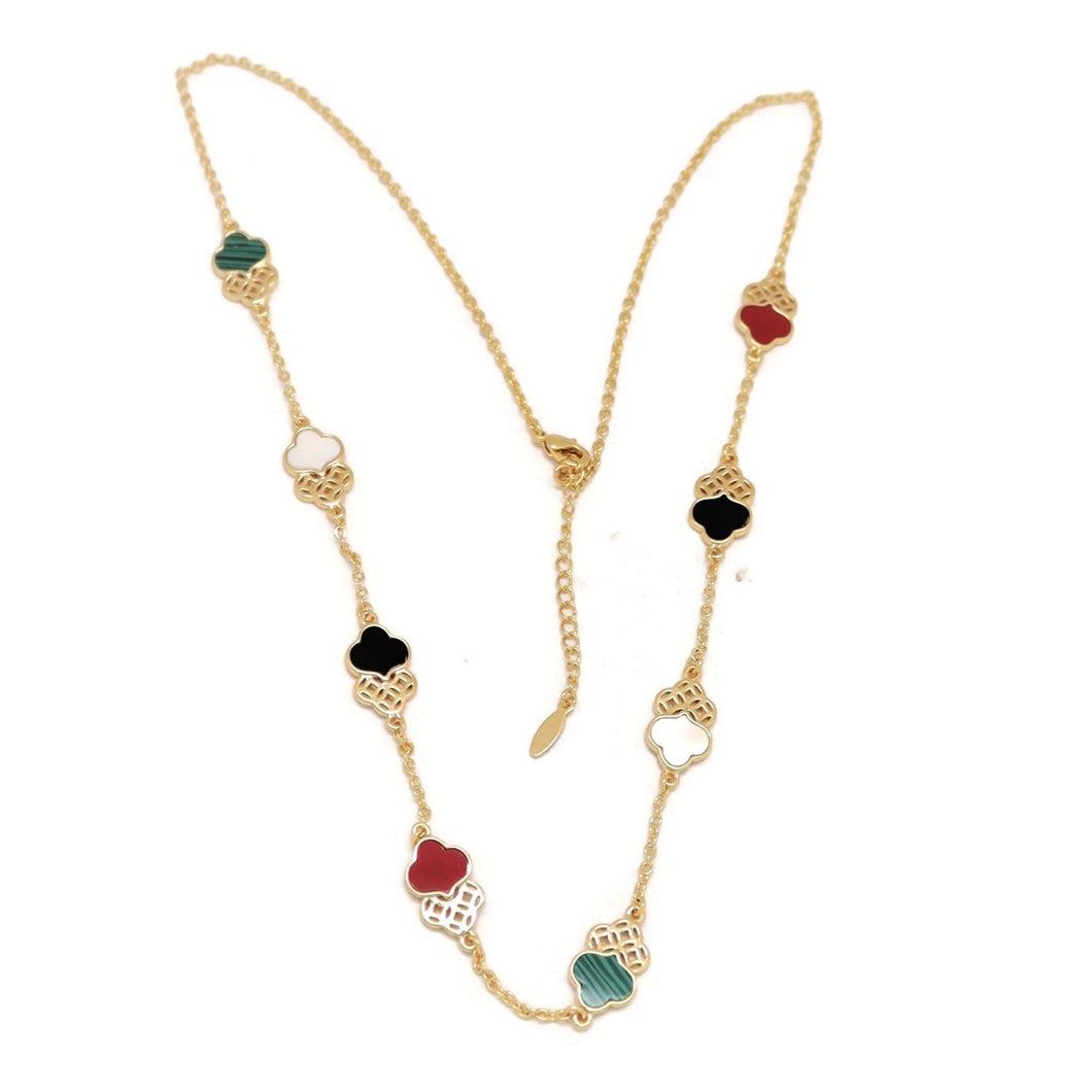 Twin Trefoil Necklace, Multi-Colored, Gold Plating