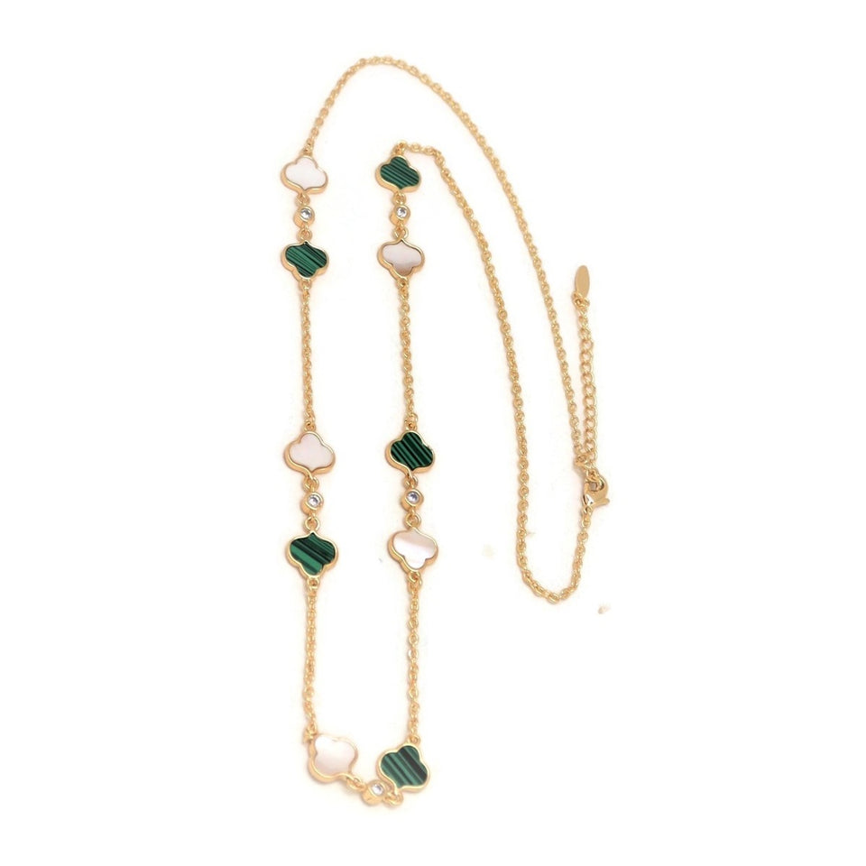 Series Trefoil Necklace, Multi-Colored, Gold Plating