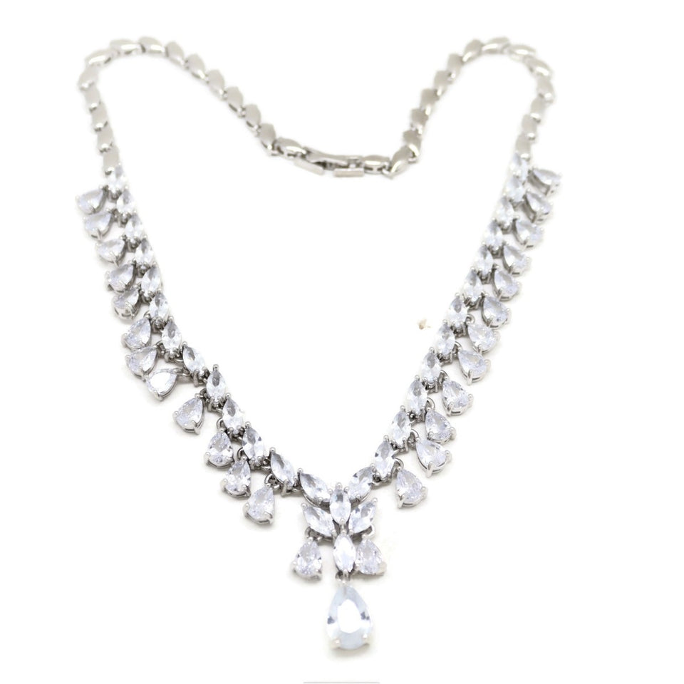 Teardrop Crystal Necklace & Earring Set, White, Silver Plating