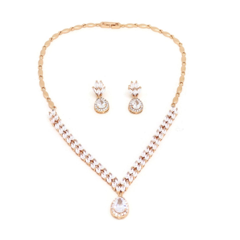 Single Drop Crystal Necklace & Earring Set, White, Gold Plating