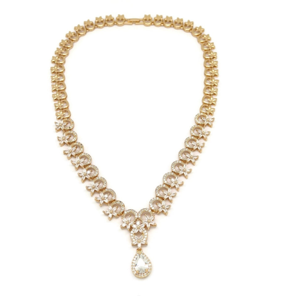 Flower Drop Crystal Necklace & Earring Set, White, Gold Plating