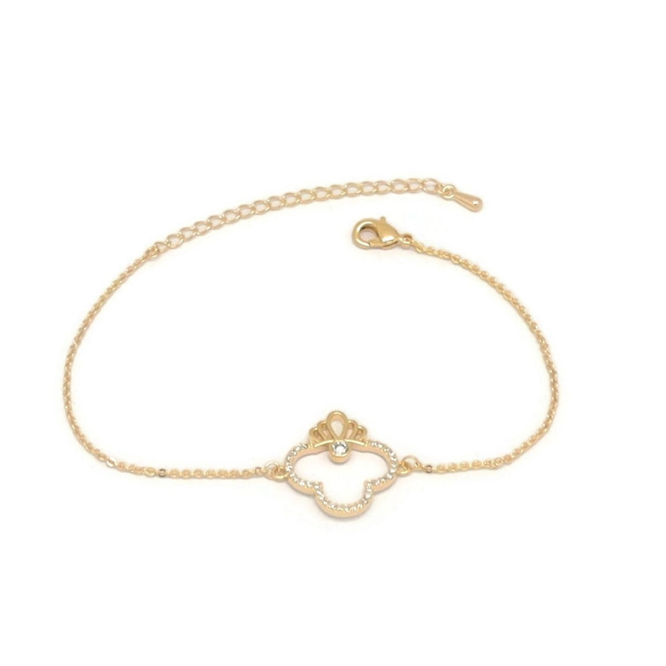 Crown Club Chain Bracelet, White, Gold Plating