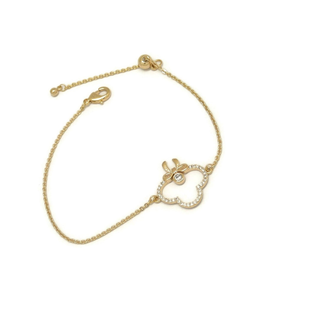 Tie Knot Club Chain Bracelet, White, Gold Plating