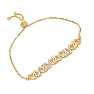 Five Linear Double Hearts Slider Bracelet, White, Gold Plating