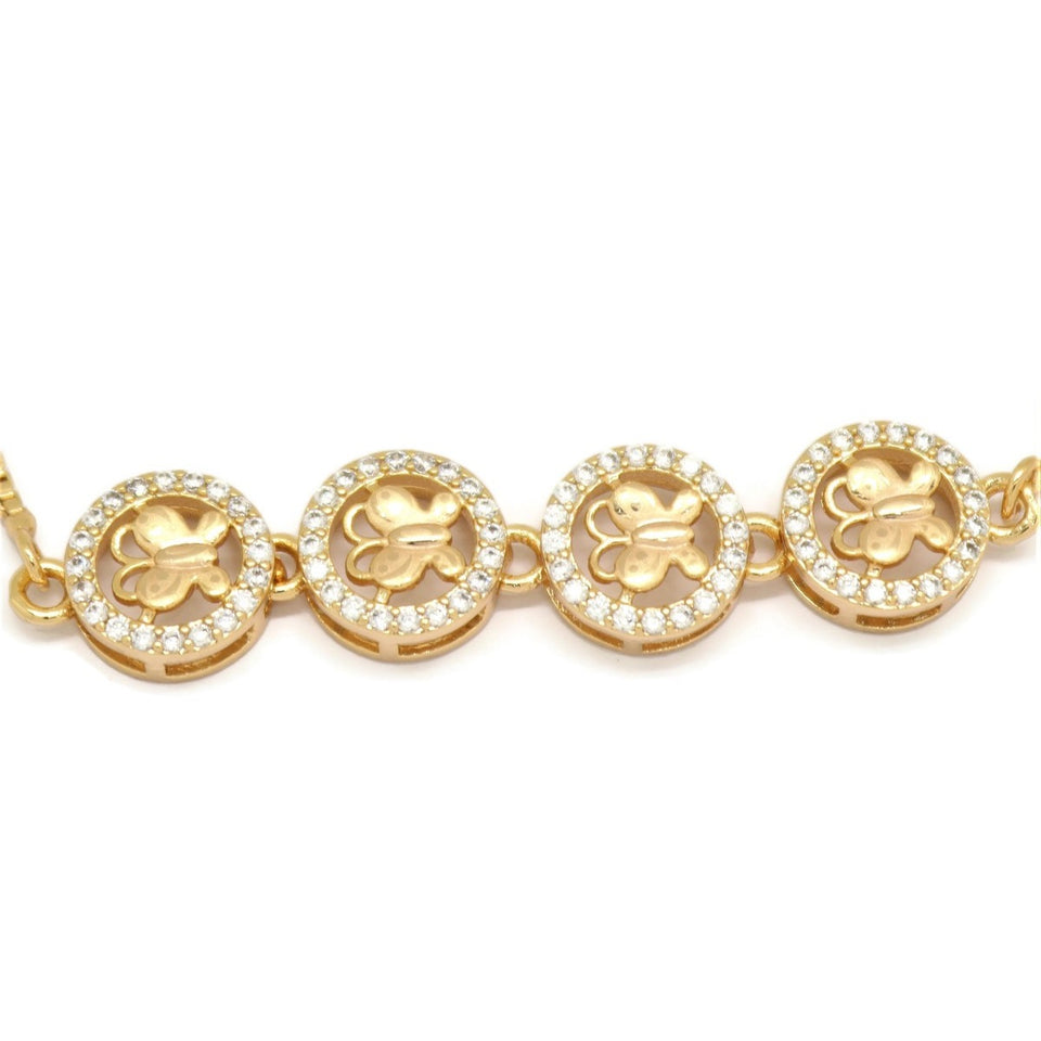 Four Linear Encircled Butterfly Slider Bracelet, White, Gold Plating