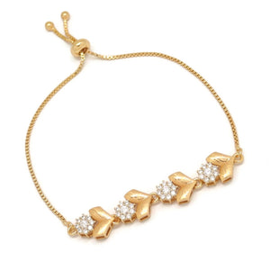 Four Linear Floral Heart Slider Bracelet, White, Gold Plating