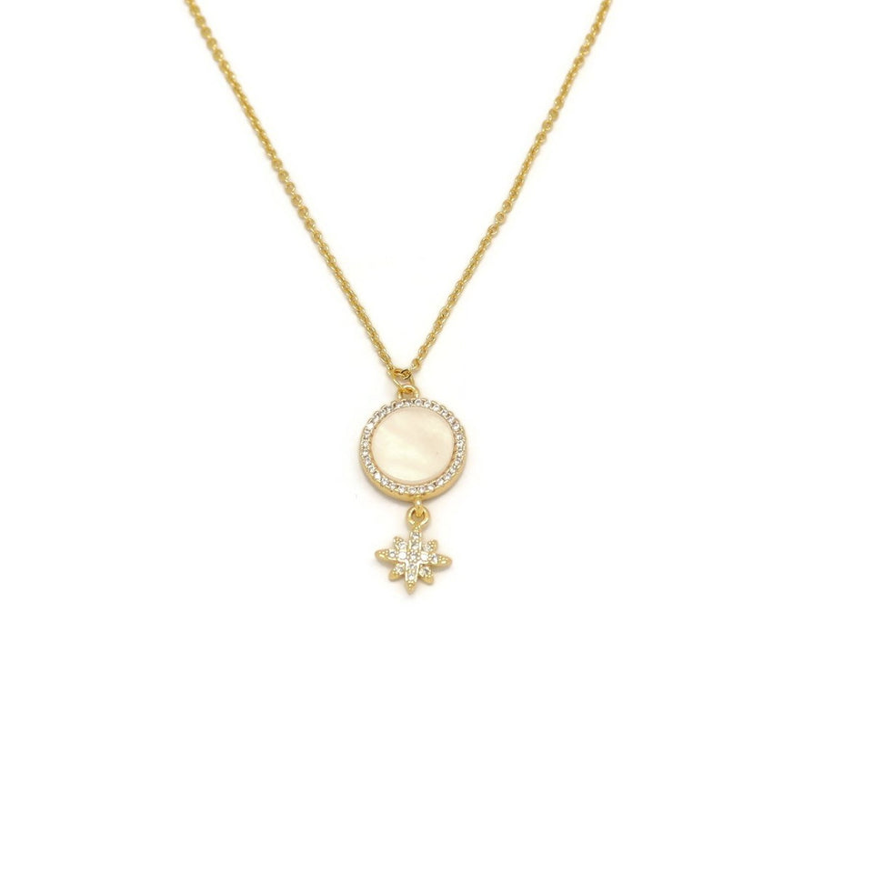 Circle Eight Pointed Star Necklace, White, Gold Plating