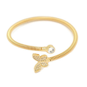 Butterfly Cuff Bracelet, White, Gold Plating