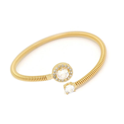 Polo Crystal Cuff Bracelet, White, Gold Plating