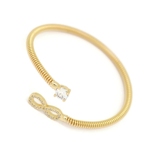 Infinity Cuff Bracelet, White, Gold Plating