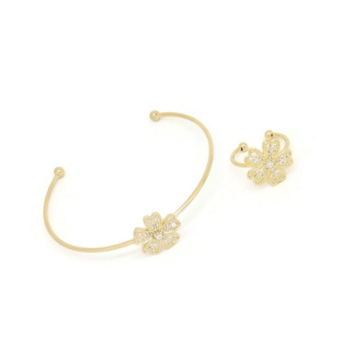 Five-Petal Flower Cuff Bracelet & Ring Set, White, Gold Plating