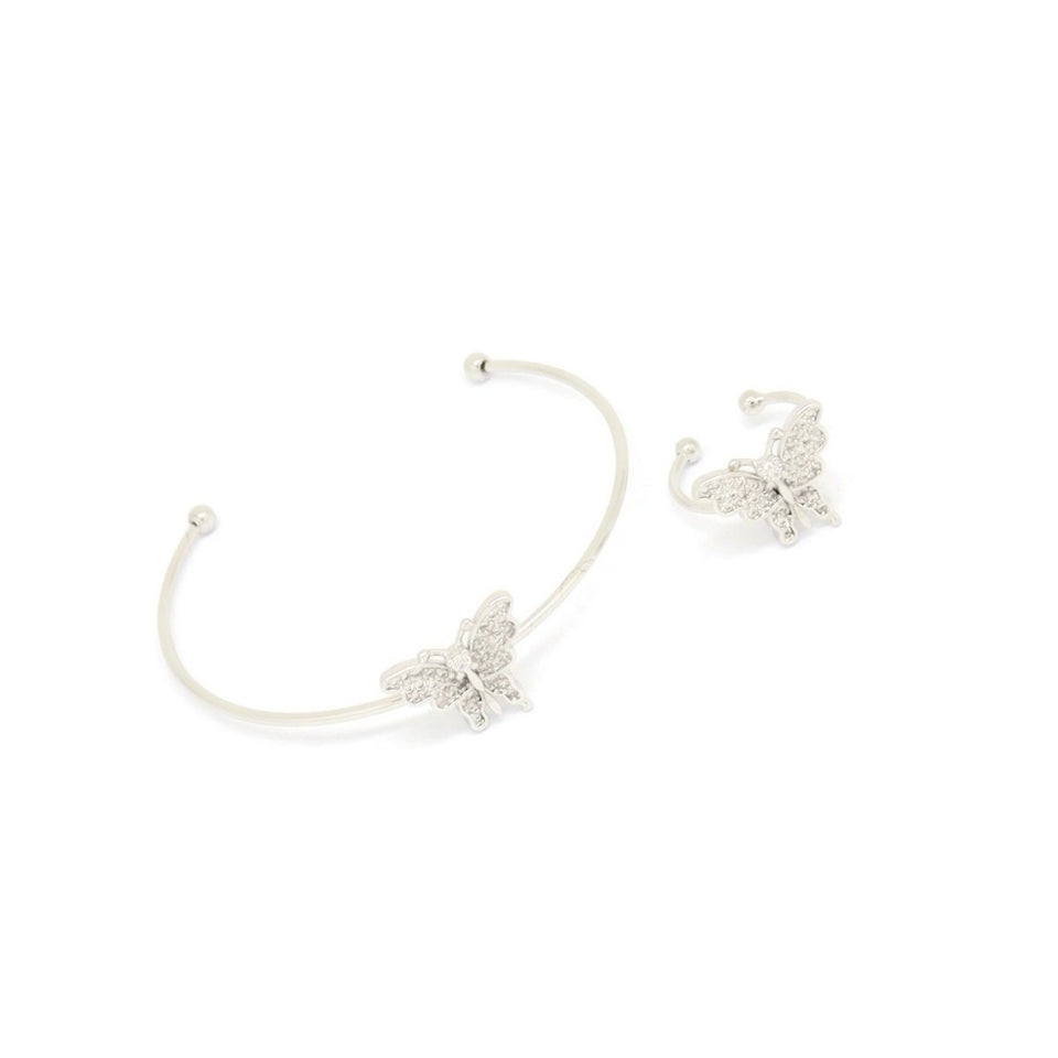 Butterfly Cuff Bracelet & Ring Set, White, Silver Plating