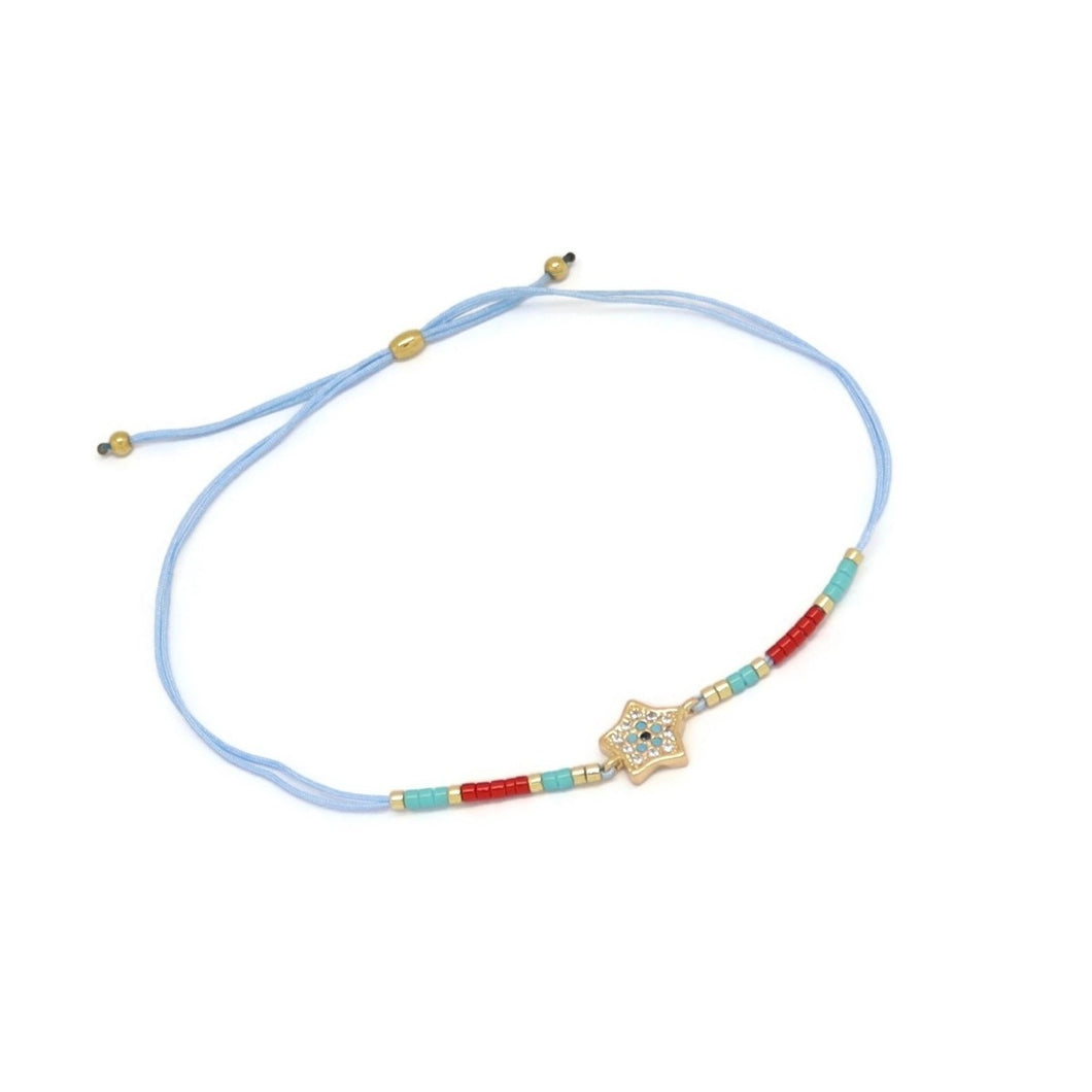 Star Double Strand Cord Bracelet, Baby Blue, Gold Plating