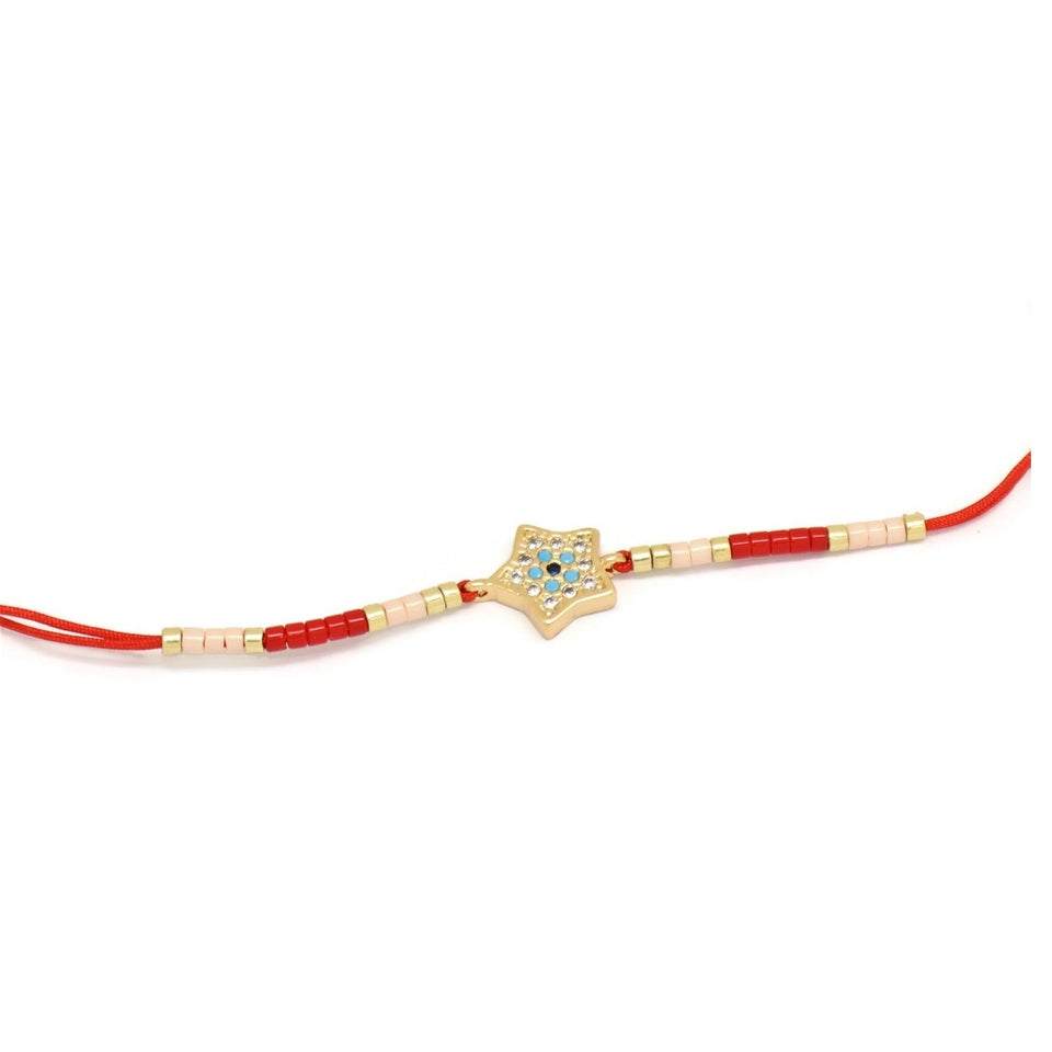 Star Double Strand Cord Bracelet, Red, Gold Plating