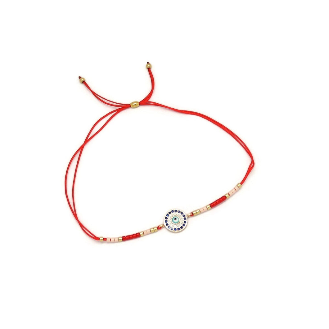 Evil-Eye Protection Double Strand Cord Bracelet, Red, Gold Plating