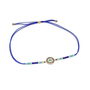 Evil-Eye Protection Double Strand Cord Bracelet, Blue, Gold Plating