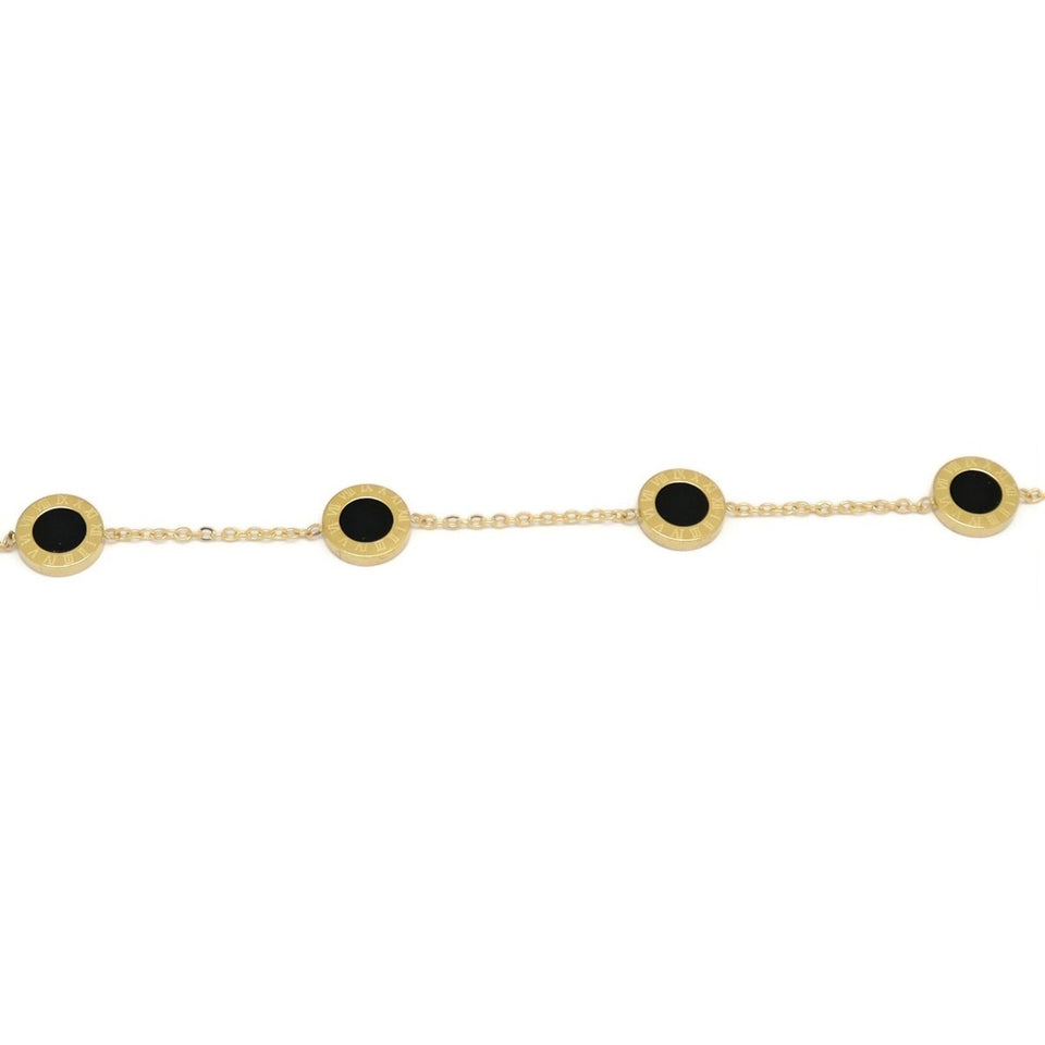 Four Roman Numeric Disc Engraving Bracelet, Black, Gold Plating