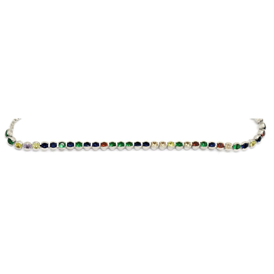 Narrow Linear Crystals Slider Bracelet, Multi-Colored, Silver Plating