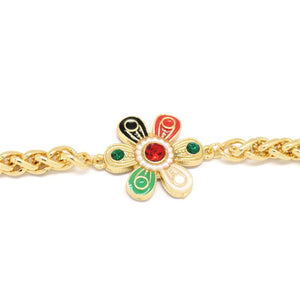 Six Petal Flower Wheat Bracelet, Multi-Colored, Gold Plating