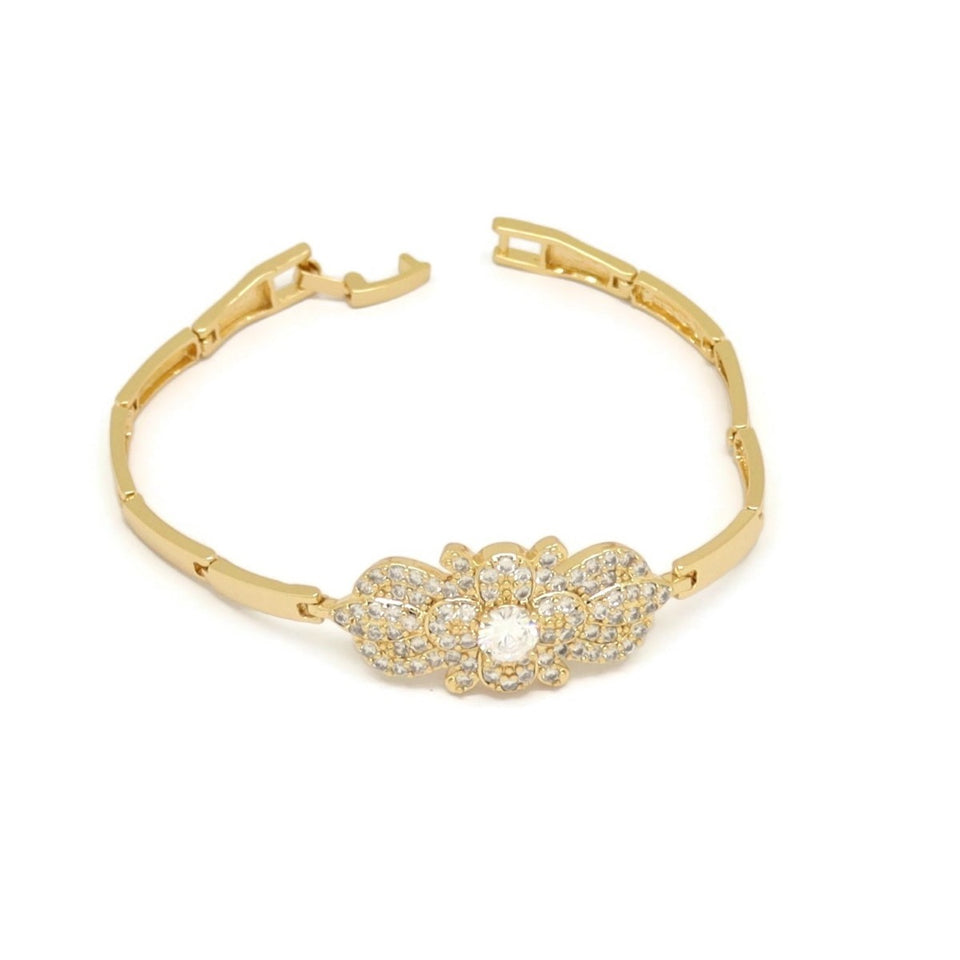 Ribbon Flower Tungsten Bracelet, White, Gold Plating