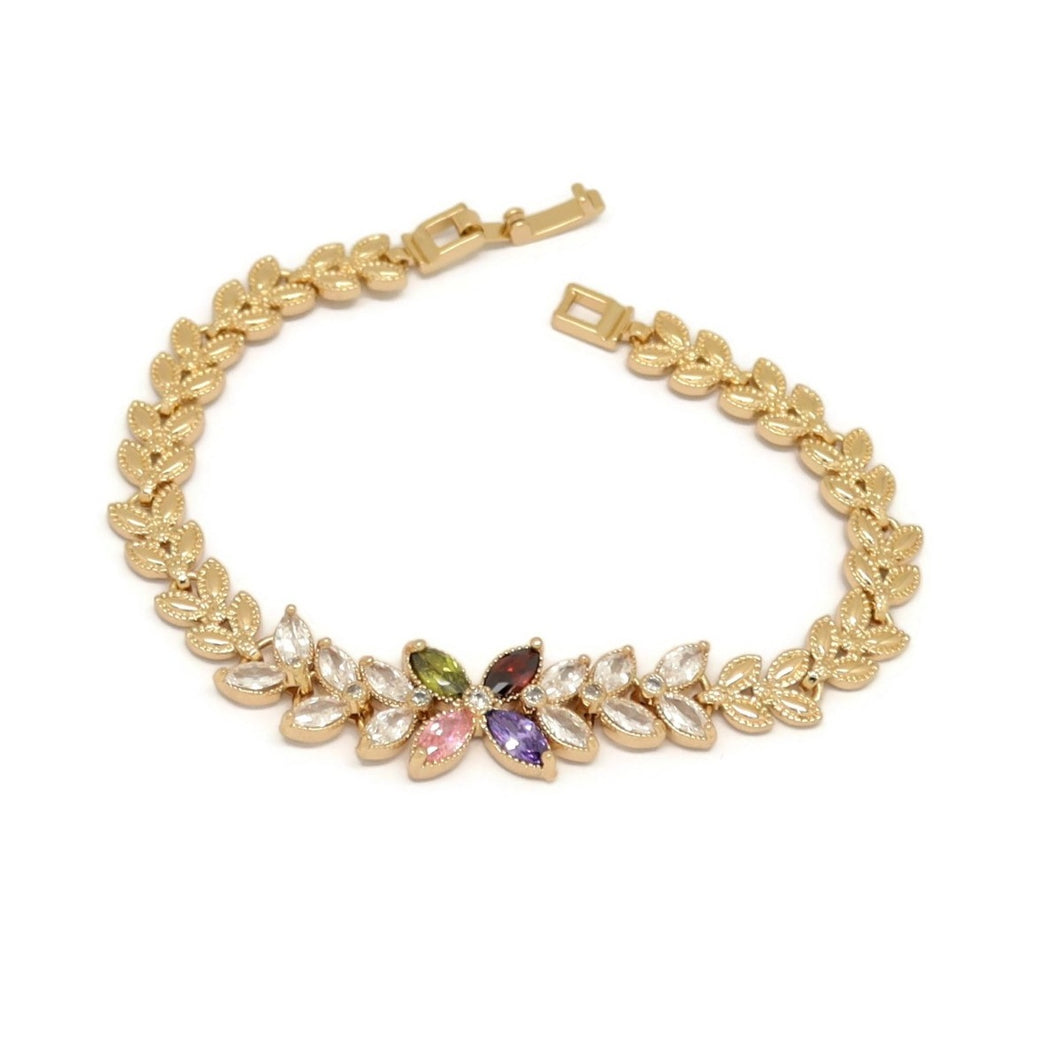 Four Petal Flower Leaf Bracelet, Multi-Colored, Gold Plating
