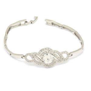 Swarovski Cloud Shape Tungsten Bracelet, White, Silver Plating