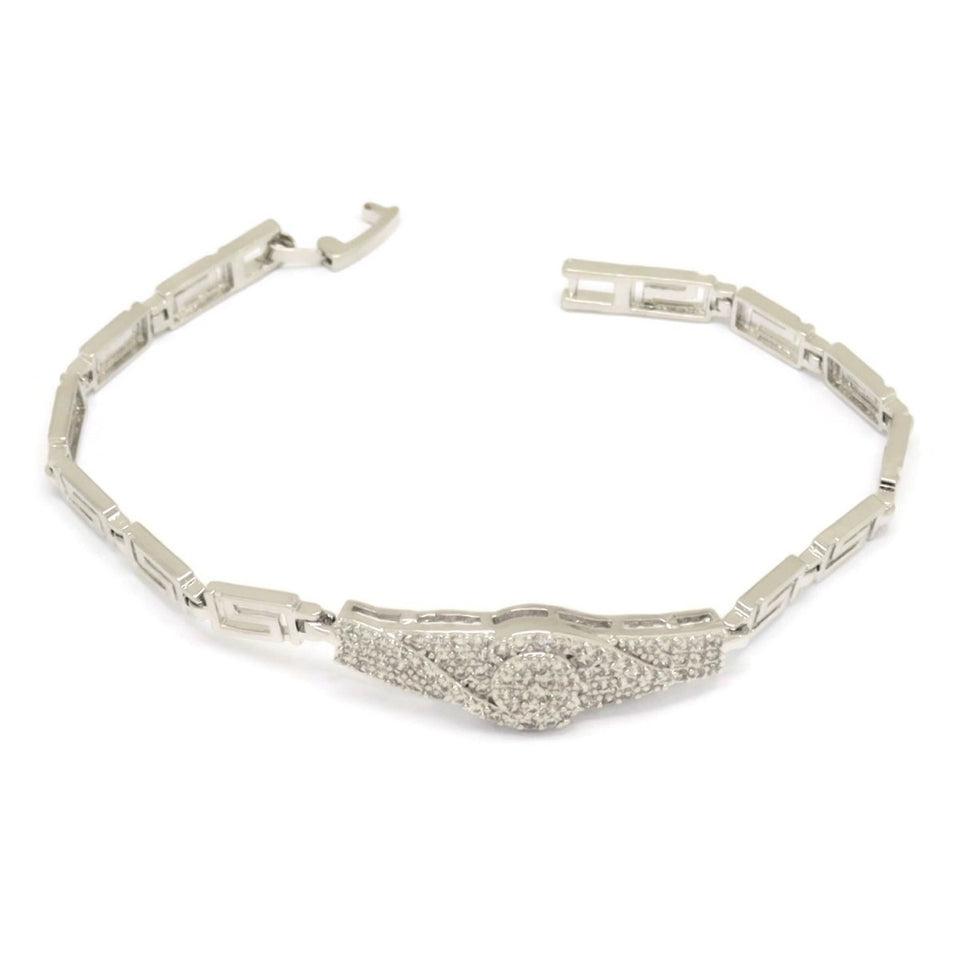 Watch Greek Key Pattern Bracelet, White, Silver Plating