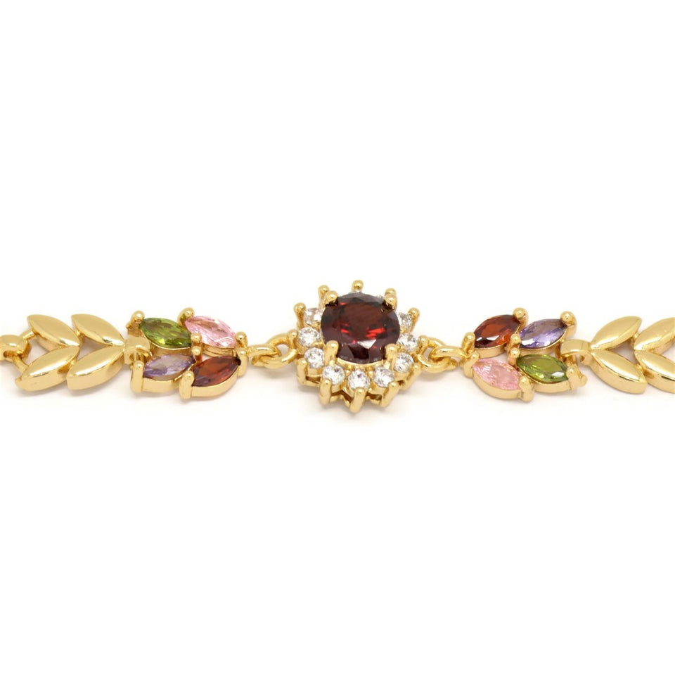 Gamet Sunflower Leaf Bracelet, Multi-Colored, Gold Plating