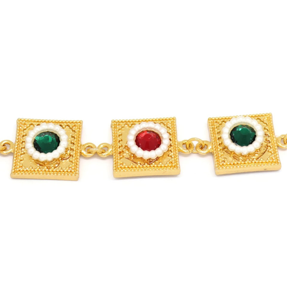 Eight Square Shape Arabic Bracelet, Multi-Colored, Gold Plating