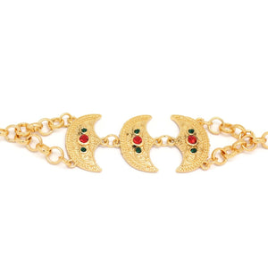 Trio Crescent Arabic Bracelet, Multi-Colored, Gold Plating