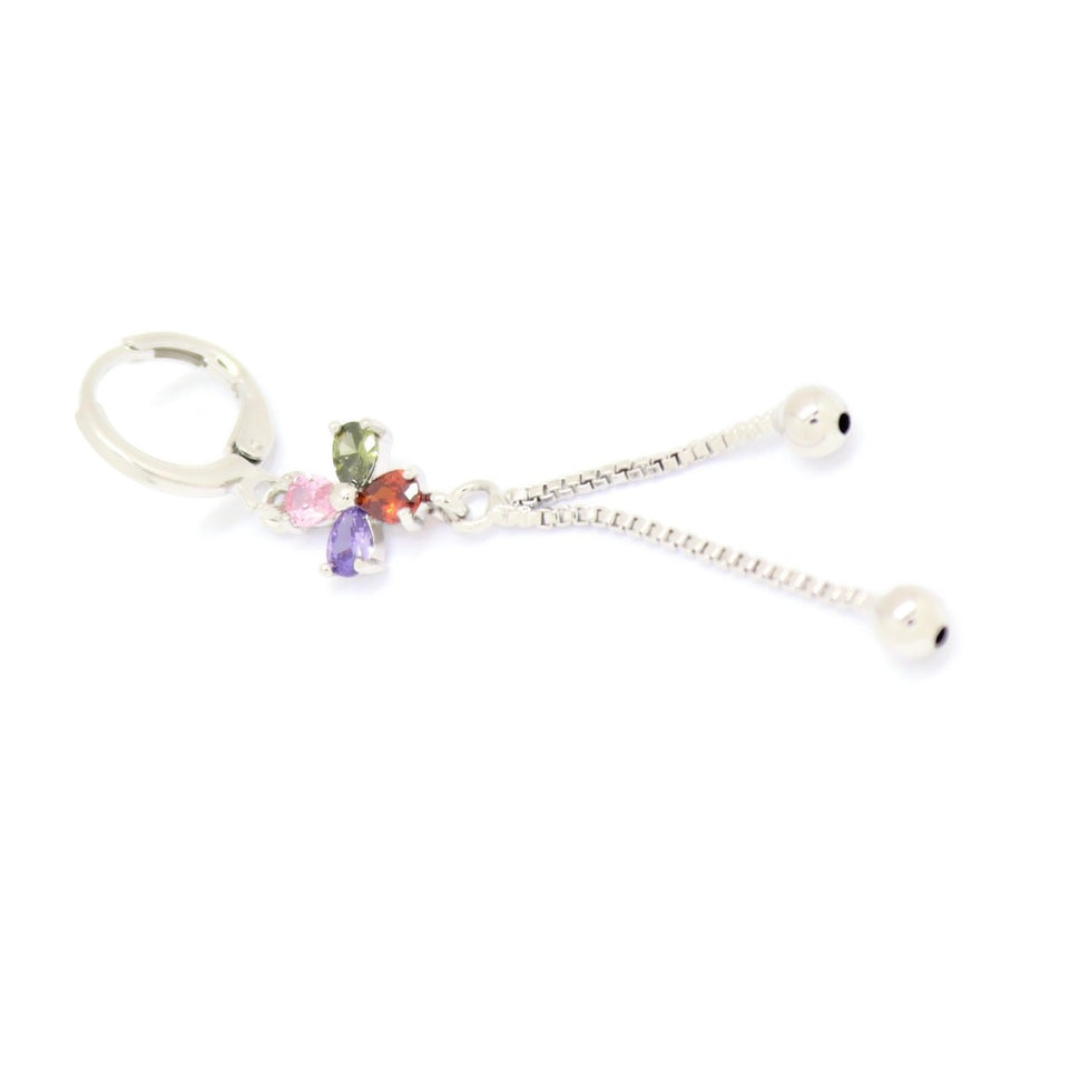 Four Petal Flower Drop Earring, Multi-Colored, Silver Plating
