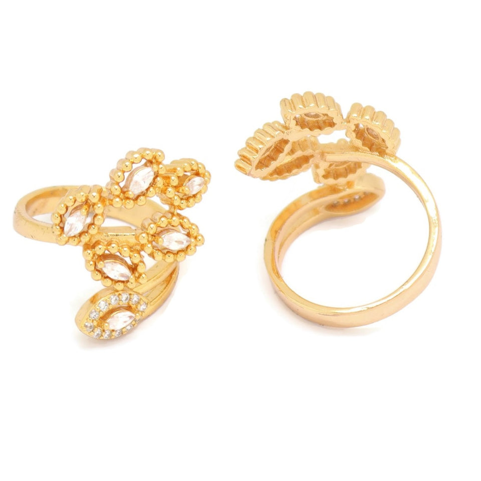 Leaf Branching Cuff Ring, White, Gold Plating