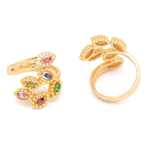 Leaf Branching Cuff Ring, Multi-Colored, Gold Plating