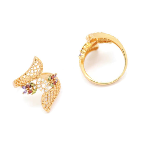 Eye Wings Cuff Ring, Multi-Colored, Gold Plating
