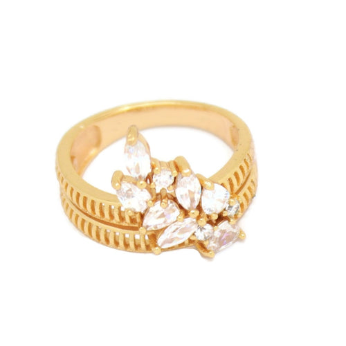 Abstract Cluster Eternity Ring, White, Gold Plating