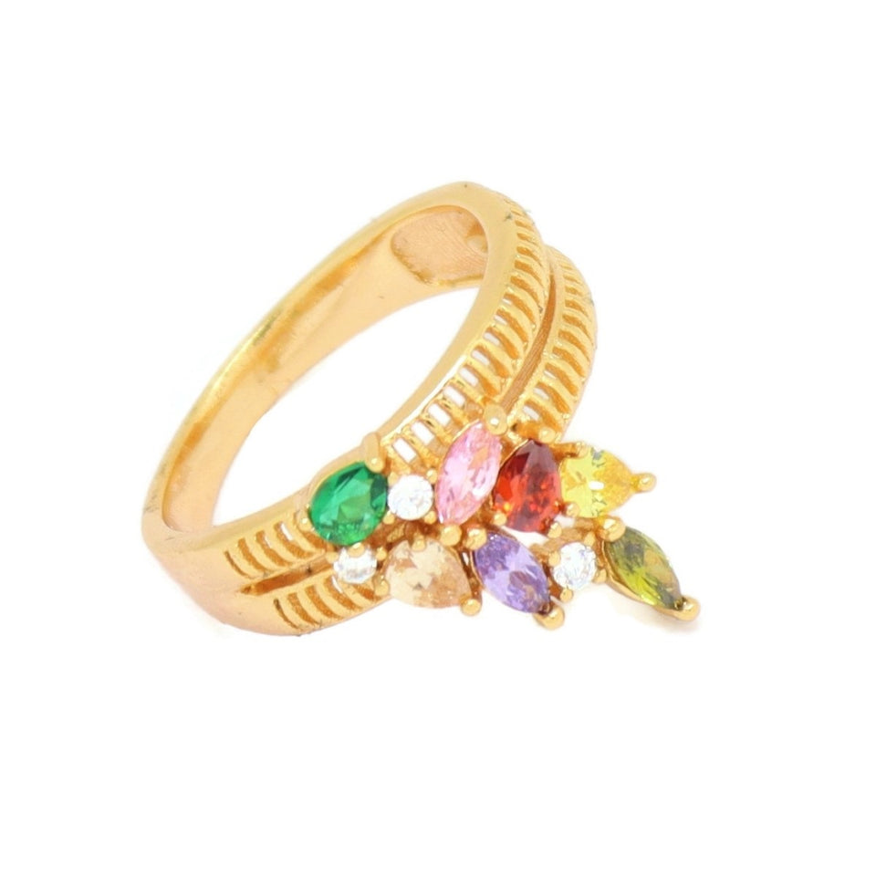 Abstract Cluster Eternity Ring, Multi-Colored, Gold Plating